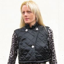 Black satin quilted waiscoat